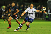 Jack Wilson stretches for the ball during the Rugby Friendly match between Edinburgh Rugby and Bath Rugby at Meggetland Sports Compex, Edinburgh, Scotland on 17 August 2018.
