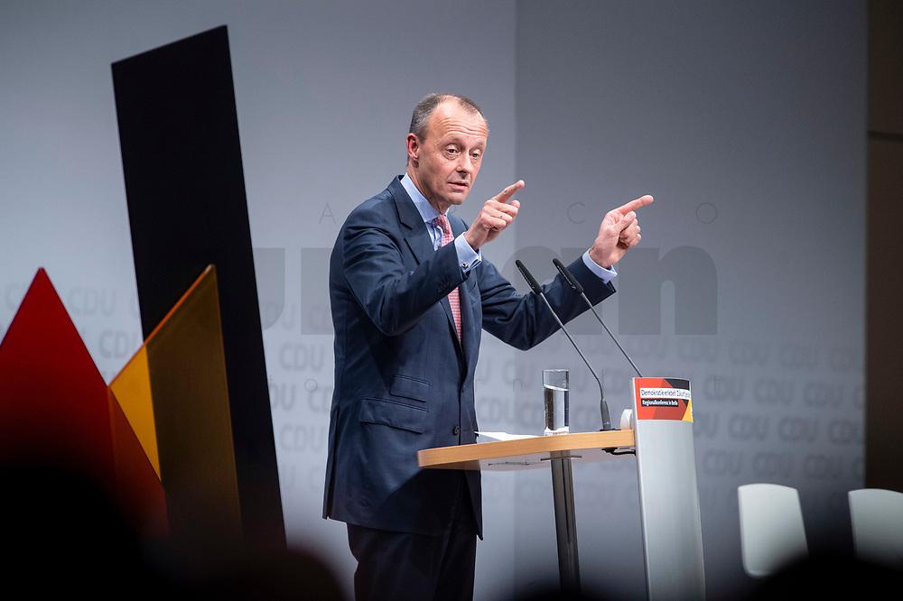 30 NOV 2018, BERLIN/GERMANY:<br /> Friedrich Merz, CDU, Rechtanwalt und ehem. stellv. CDU/CSU Fraktionsvorsitzender, haelt eine Rede, waehrend der Regionalkonferenz der CDU zur Vorstellung der Kandidaten fuer das Amt des Bundesvorsitzenden der CDU, Estrell Convention Center<br /> IMAGE: 20181130-01-017