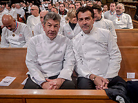 Paul Bocuse's funeral took place in the cathedral St Jean, Lyon.<br /> Regis Marcon & Yannick Alleno, chefs