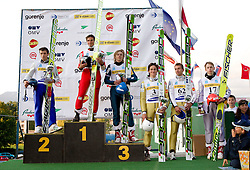 Second placed Vladimir Zografski (BOL), winner Robert Kranjec (SLO, third placed Dawid Kubacki (POL), fourth placed Peter Prevc (SLO), fifth placed Dejan Judez (SLO) and sixth placed Aleksander Zniszczol (POL) during Ski Jumping Summer Continental Cup in Kranj, on July 2, 2011, in Kranj, Slovenia. (Photo by Vid Ponikvar / Sportida)