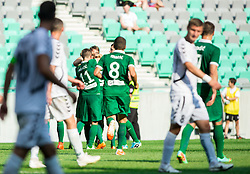 Players of Olimpija celebrate after scoring 2nd goal during football match between NK Olimpija and NK Krka in Round 1 of Prva liga Telekom Slovenije 2014/15, on July 19, 2014 in SRC Stozice, Ljubljana, Slovenia. Photo by Vid Ponikvar / Sportida.com