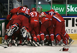 Russian players celebrate victory after  ice-hockey game Canada vs Russia at finals of IIHF WC 2008 in Quebec City,  on May 18, 2008, in Colisee Pepsi, Quebec City, Quebec, Canada. Win of Russia 5:4 and Russians are now World Champions 2008. (Photo by Vid Ponikvar / Sportal Images)
