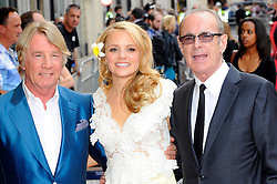 Bula Quo UK film premiere.  <br /> Rick Parfitt, Laura Aikman and  Francis Rossi attends premiere of Status Quo action film featuring 12 of the rock band's classic tracks. Directed by former stunt co-ordinator Stuart St Paul, starring Jon Lovitz, Craig Fairbrass, Laura Aikman and the band members themselves. Released July 5. Odeon West End, London, United Kingdom.<br /> Monday, 1st July 2013<br /> Picture by Chris Joseph / i-Images