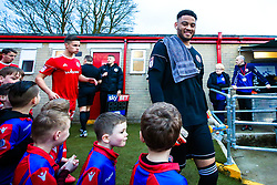 Aaron Chapman of Accrington Stanley meets the match day mascots - Mandatory by-line: Robbie Stephenson/JMP - 17/04/2018 - FOOTBALL - Wham Stadium - Accrington, England - Accrington Stanley v Yeovil Town - Sky Bet League Two