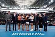 Su-Wei Hsieh of Chinese Taipeh & Barbora Strycova of the Czech Republic and Ashleigh Barty of Australia & Kiki Bertens of the Netherlands during the doubles trophy ceremony after the final of the 2020 Brisbane International WTA Premier tennis tournament - Photo Rob Prange / Spain ProSportsImages / DPPI / ProSportsImages / DPPI