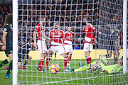 Middlesbrough midfielder Gaston Ramirez (21)  can't believe Chelsea forward Diego Costa (19)  has scored to make the score 0-1 during the Premier League match between Middlesbrough and Chelsea at the Riverside Stadium, Middlesbrough, England on 20 November 2016. Photo by Simon Davies.