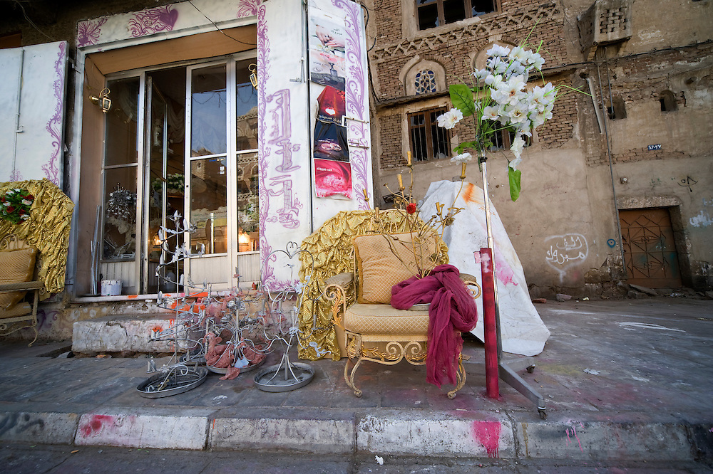 Sana'a 's street..Armchair ready to be rented for a wedding..The bride will sit on a similar armchair the last day of her wedding while her guests dance in front of her. Wedding are expensive and a lot of young women think they would prefer to spend this money on something more useful, 'like in Europe'..