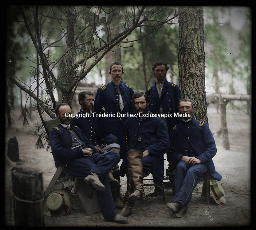 Stunning portraits from American Civil War  bright back to life in colour<br /> <br /> Broadway Landing, Va. Surgeons of 4th Division, 9th Corps<br /> <br /> Petersburg Virginia. Surgeons of 4th Division 9th Army Corps Date: c. 1864 Civil War photographs 1861-1865 / compiled by Hirst D. Milhollen and Donald H. Mugridge Washington D.C. : Library of Congress 1977. No. 0283 Title from Milhollen and Mugridge. Forms part of Selected Civil War photographs 1861-1865 (Library of Congress) United States--History--Civil War 1861-1865--Military personnel--Union. Military bands. Infantry--Union. 114th Pennsylvania Infantry.United States--Virginia--Brandy Station. 1 negative : glass wet collodion. LC-B817- 7611[P&P] Library of Congress Prints and Photographs Division Washington D.C. 20540 USA<br /> ©Frédéric DurIiez/Exclusivepix Media