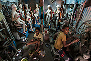 Kumartuli is the colourful traditional potters' quarter in northern Kolkata (formerly Calcutta). Calcutta is the capital of India's West Bengal state. Founded as an East India Company trading post, it was India's capital under the British Raj from 1773–1911.