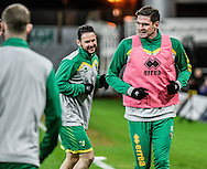 Kyle Lafferty and Matt Jarvis of Norwich City U23 before the match against Dinamo Zagreb U23 in the Premier League International Cup Quarter-Final match at Carrow Road, Norwich<br /> Picture by Matthew Usher/Focus Images Ltd +44 7902 242054<br /> 27/02/2017