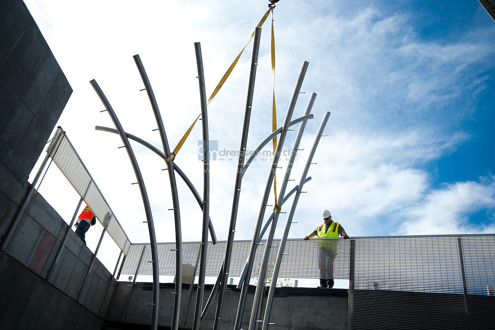 "Installation of the sculpture ""Albedo"" by artist Osman Akan"