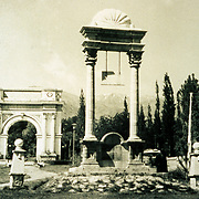 1920s ?<br /> King Amanullah had a grand dream to transform Paghman into a European-style resort worthy of the admiration of the comity of nations. An imposing Victory Arch, designed by a Turkish architect, immediately caught the attention of every visitor entering the Central Square. It commemorated those who fought and died during the War of Independence in 1919. Their names appear on marble plaques affixed to the underside of the arch. The Khost monument, just ten meters below the Arch, recognizes the services of those who fought to suppress a rebellion in Khost (March 1924 to January 1925)protesting against the King's modernizing reforms.
