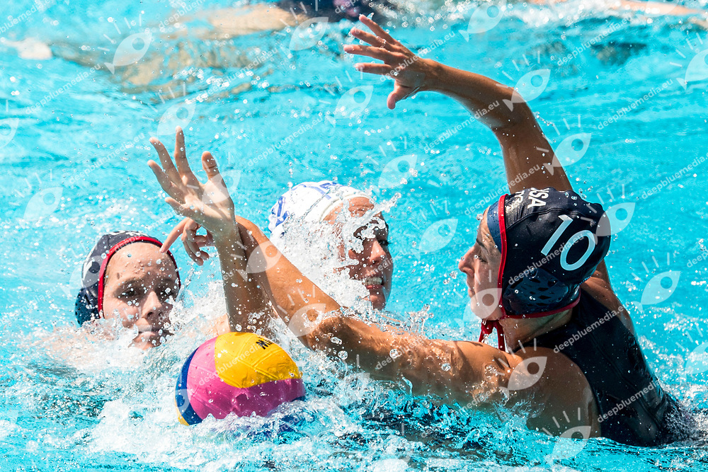 PENNEY Amber RSA, NEUSHUL Jamie USA  <br /> RSA (white cap) -  USA (blue cap)<br /> Preliminary Round Water Polo<br /> Day03  16/07/2017 <br /> XVII FINA World Championships Aquatics<br /> Alfred Hajos Complex Margaret Island  <br /> Budapest Hungary <br /> Photo @ Deepbluemedia/Insidefoto