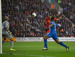 02.03.2013, DW Stadion, Wigan, ENG, Premier League, Wigan Athletic vs FC Liverpool, 28. Runde, im Bild Liverpool's Stewart Downing scores the first goal against Wigan Athletic during the English Premier League 28th round match between West Wigan Athletic and Liverpool FC at the DW Stadium, Wigan, Great Britain on 2013/03/02. EXPA Pictures © 2013, PhotoCredit: EXPA/ Propagandaphoto/ David Rawcliffe..***** ATTENTION - OUT OF ENG, GBR, UK *****