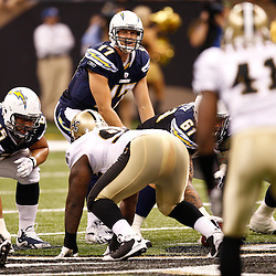 August 27, 2010; New Orleans, LA, USA; San Diego Chargers quarterback Philip Rivers (17) under center during the first half of a preseason game at the Louisiana Superdome. The New Orleans Saints defeated the San Diego Chargers 36-21. Mandatory Credit: Derick E. Hingle