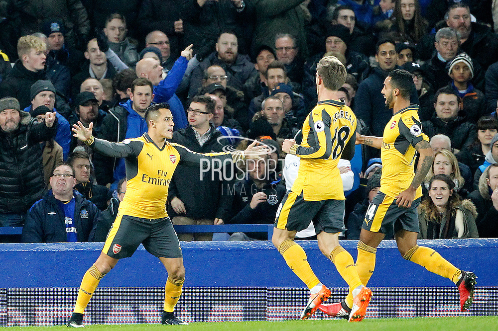 Arsenal's Alexis Sanchez (7) celebrates scoring the opening goal of the game 0-1 during the Premier League match between Everton and Arsenal at Goodison Park, Liverpool, England on 13 December 2016. Photo by Craig Galloway.