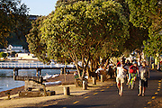 tourists strolling on waterfront at Russell