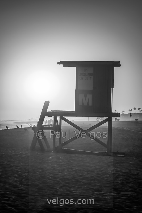 Lifeguard tower M Newport Beach California black and white photo. Newport Beach is a popular beach city in Orange County CA in the Western United States of America. Copyright ⓒ 2017 Paul Velgos with all rights reserved.