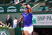 Rafael Nadal (ESP) during the mens singles third round of the Roland Garros Tennis Open 2017 at Roland Garros Stadium, Paris, France on 2 June 2017. Photo by Jon Bromley.