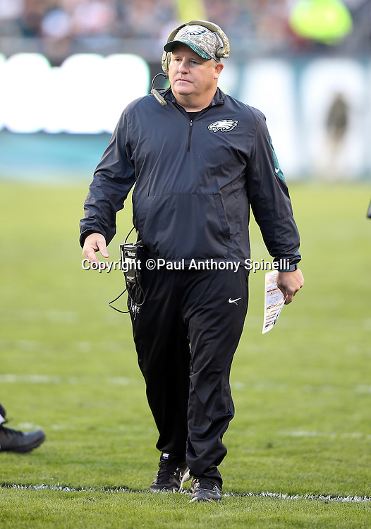 Philadelphia Eagles head coach Chip Kelly paces the sideline during the 2015 week 10 regular season NFL football game against the Miami Dolphins on Sunday, Nov. 15, 2015 in Philadelphia. The Dolphins won the game 20-19. (©Paul Anthony Spinelli)