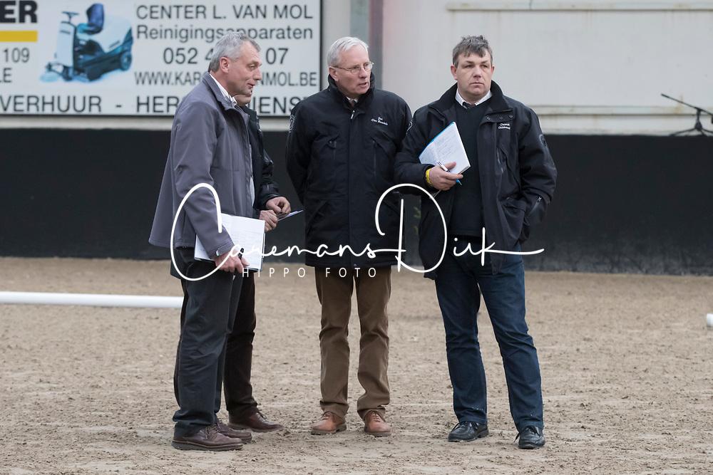 Jury, Jan van Haverbeke, Patrick Oelbrandt, Lieven Tinel, Boudewijn Schepers<br /> BrP Keuring <br /> Hulsterlo - Meerdonk 2017<br /> © Dirk Caremans<br /> 17/03/2017