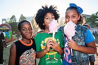Kids enjoy cotton candy at the Berklee Jazz Festival.