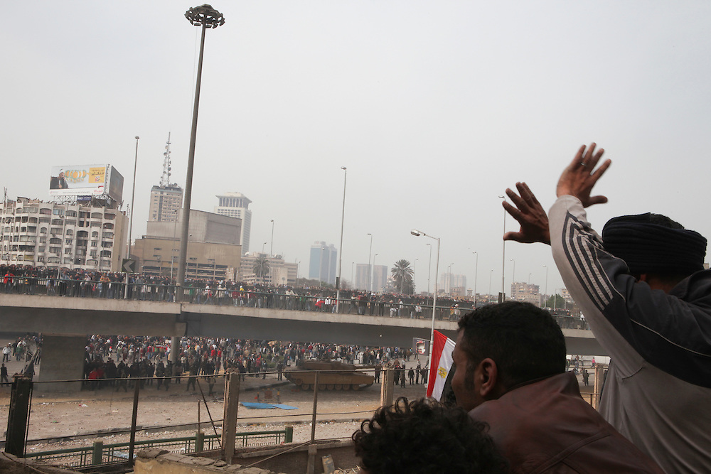 Pro-democracy protesters were forced to defend their sit-in protest at Tahrir Square when plainclothes security officers and supporters of then President Hosni Mubarak attacked on 2 February. The street battles lasted almost two days before Mubarak's forces were driven away. Pro-democracy protesters battle Mubarark's forces near Tahrir Square on 3 February.