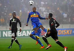 Cape Town 18-03-14  Cape Town city strike Judas Mseamedi challeging for the ball  against Orlando Pirates nedbank Cup in  Cape Town Stadium Pictures Ayanda Ndamane African news agency/ANA