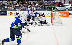 Ken Ograjensek of Slovenia vs Connor Murphy of USA and Connor Hellebuyck of USA during Ice Hockey match between Slovenia and USA at Day 10 in Group B of 2015 IIHF World Championship, on May 10, 2015 in CEZ Arena, Ostrava, Czech Republic. Photo by Vid Ponikvar / Sportida