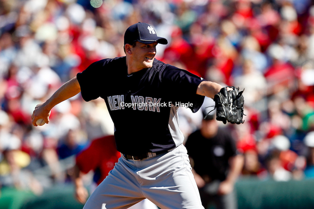 March 05, 2011; Clearwater, FL, USA; New York Yankees pitcher Adam Miller (84) during a spring training game against the Philadelphia Phillies at Bright House Networks Field. Mandatory Credit: Derick E. Hingle-US PRESSWIRE