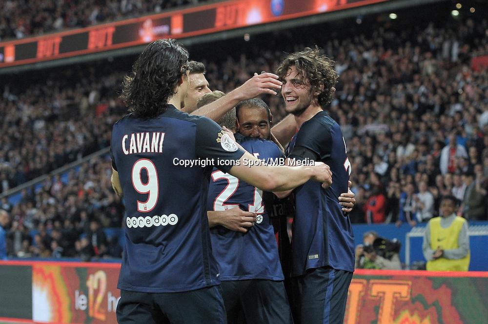 joie PSG / Adrien Rabiot / Edinson Cavani - 23.05.2015 - PSG / Reims - 38eme journee de Ligue 1<br />Photo : Andre Ferreira / Icon Sport