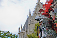 A knight on horseback participates in the Ommegang festival in Brussels, Belgium