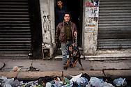 Un habitant protège son immeuble des pilleurs avec son doberman. // A la suite de nombreux pillages et saccages commis dans le centre ville de Tunis la Police accompagnée des habitants organisés en comité de quartiers chassent les pilleurs, Tunis dimanche 27 février 2011. © Benjamin Girette/IP3 press