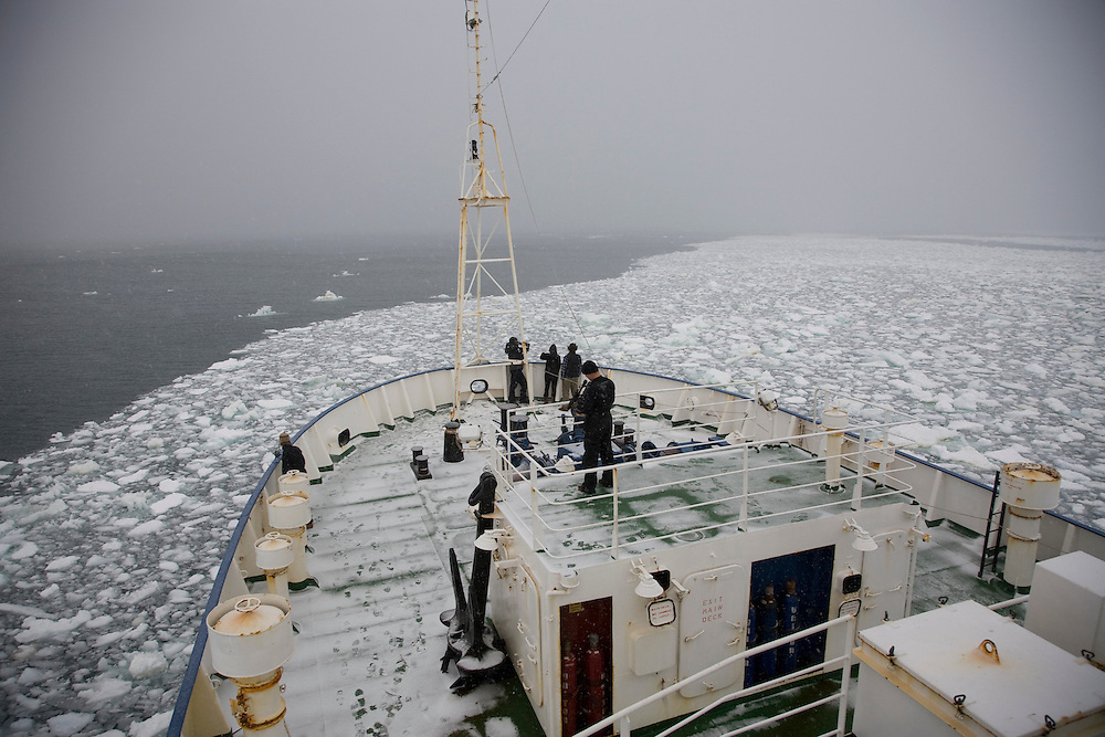 February 7th 2007. Southern Ocean. Crew of the Greenpeace MY Esperanza document the sea ice in the Ross Sea near Antarctica.