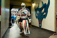 KELOWNA, CANADA - APRIL 8: Michael Herringer #30 of the Kelowna Rockets heads for the dressing room after warm up against the Portland Winterhawks on April 8, 2017 at Prospera Place in Kelowna, British Columbia, Canada.  (Photo by Marissa Baecker/Shoot the Breeze)  *** Local Caption ***