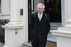 London, UK. 15th January, 2019. David Davis MP, former Brexit Secretary, leaves the British Academy after speaking at the launch of the 'A Better Deal' pamphlet with DUP Leader Arlene Foster, Dominic Raab MP and Lord Lilley. The pamphlet sets out proposals for an alternative EU withdrawal agreement.