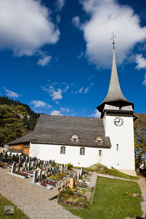 Gsteig church and cemetery yard - Switzerland