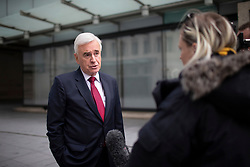 © Licensed to London News Pictures. 08/03/2020. London, UK. Shadow Chancellor of the Exchequer John McDonnell speaks to the media as he departs BBC Broadcasting House after appearing on The Andrew Marr Show. Photo credit: George Cracknell Wright/LNP