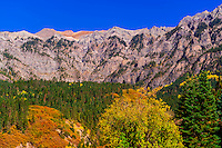 Amphitheatre, a cirque above the town of Ouray, in the San Juan Mountains of southwest Colorado, USA.