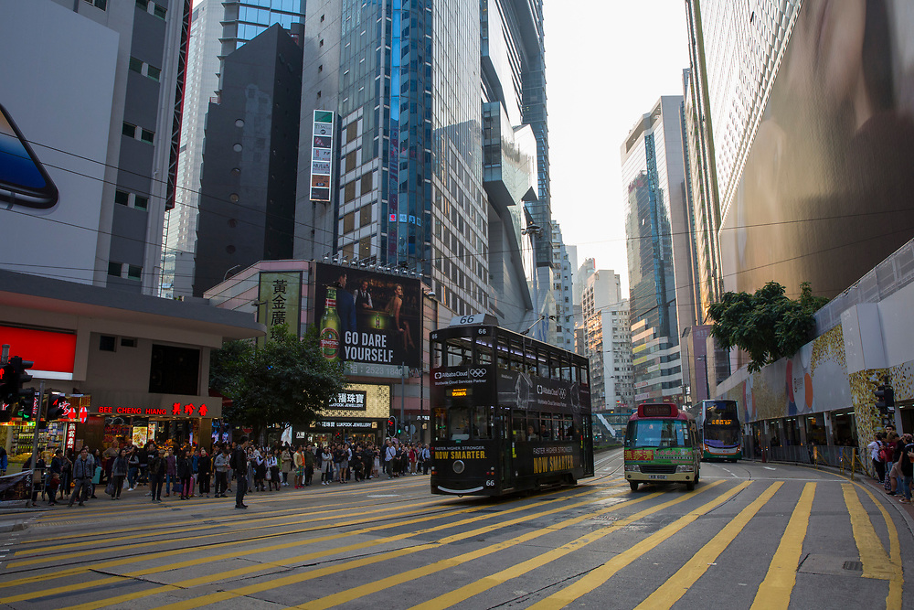 Trams and buses driving on Paterson Street, Hong Kong.  (photo by Andrew Aitchison / In pictures via Getty Images)
