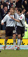 Photo: Leigh Quinnell.<br /> Derby County v Crystal Palace. Coca Cola Championship. 25/03/2006. Derbys Adam Bloder(R) congratulates Inigo Idiakez on scoring his rebounded penalty for Derby.