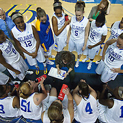 11/11/11 Newark DE: Delaware Head Coach Tina Martin (Center) draws up a play in the second half of a week one NCAA Women's College basketball game, Friday, Nov. 11, 2011 at the Bob carpenter center in Newark Delaware.<br /> <br /> Delaware would go on to defeat the Rhode Island rams 65-53.<br /> <br /> Special to The News Journal/SAQUAN STIMPSON