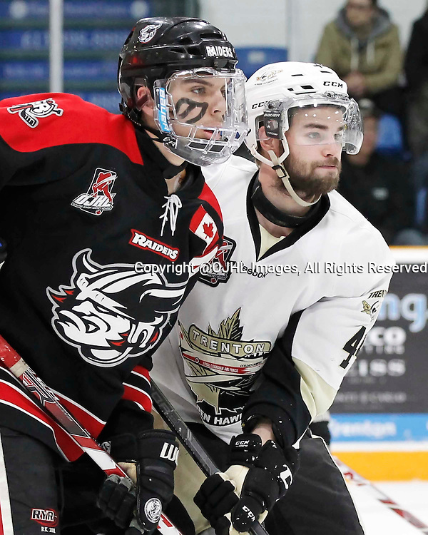 TRENTON, - Apr 17, 2016 -  Ontario Junior Hockey League game action between the Trenton Golden Hawks and the Georgetown Raiders. Game 3 of the Buckland Cup Championship Series, Nick Boddy #44 of the Trenton Golden Hawks at the Duncan Memorial Gardens, ON. (Photo by Amy Deroche / OJHL Images)