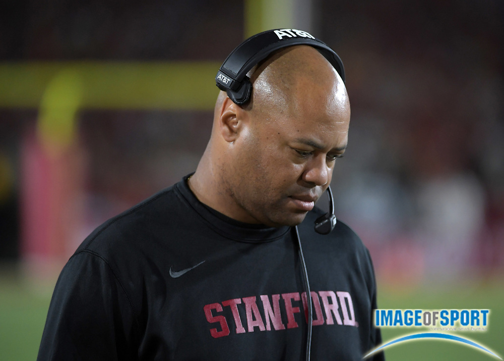 Sep 9, 2017; Los Angeles, CA, USA; Stanford Cardinal head coach David Shaw reacts during a NCAA football game against the Southern California Trojans at Los Angeles Memorial Coliseum. USC defeated Stanford 42-24.