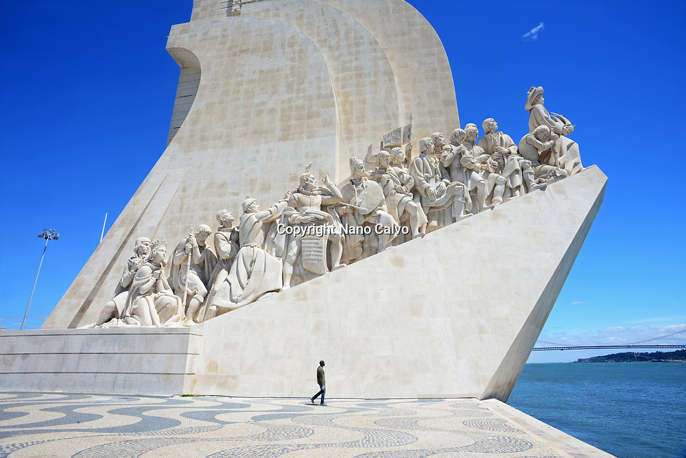 """The Monument to the Discoveries (in Portuguese """"Padrão do Descobrimentos""""), created by Cottinelli Telmo (1897–1948) and the sculptor Leopoldo de Almeida (1898–1975), was first erected in 1940, Belem, Lisbon."""