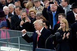 President Donald Trump gestures after taking the oath of office to during the 58th Presidential Inauguration on January 20, 2017 in Washington, DC..Photo by Olivier Douliery/Abaca