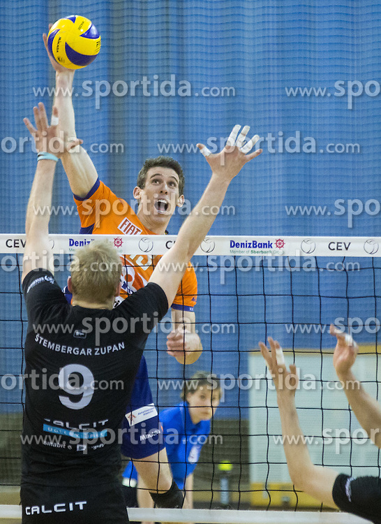 Andrej Stembergar of Calcit vs Eric Mochalski of ACH during volleyball match between ACH Volley and Calcit Volleyball in Round #3 of Finals of 1. DOL Slovenian Championship 2014/15, on April 19, 2015 in Hala Tivoli, Ljubljana, Slovenia.  Photo by Vid Ponikvar / Sportida