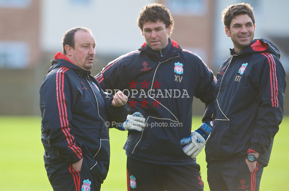 LIVERPOOL, ENGLAND - Tuesday, December 8, 2009: Liverpool's manager Rafael Benitez with goalkeeping coach Xavi Valero and first team coach Mauricio Pellegrino during a training session at Melwood ahead of the UEFA Champions League Group E match against AFC Fiorentina. (Pic by David Rawcliffe/Propaganda)