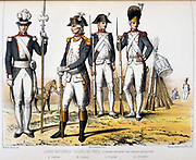 Paris members of the National Guard.   'From Histoire des corps de troupes de la ville de Paris' by Francois Cudet, Paris, 1897. Chromolithograph.