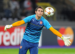 Arsenal's Damian Martinez starts in goal for Arsenal - Photo mandatory by-line: Dougie Allward/JMP - Mobile: 07966 386802 - 22/10/2014 - SPORT - Football - Anderlecht - Constant Vanden Stockstadion - R.S.C. Anderlecht v Arsenal - UEFA Champions League - Group D